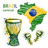 Symboles de carnaval du Brésil Bat du tambour du tam de tam, des maracas et de la carte du Brésil avec des couleurs de drapeau du illustration stock