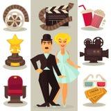 Symboles de cinéma dans le rétro style Images libres de droits