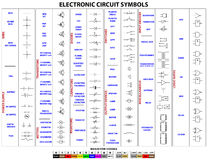 Symboles de circuit électronique Photos stock