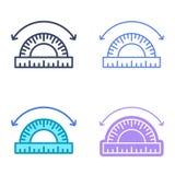 Symboles de concept d'angle Contour IC de dimension et de vecteur de mesure Image libre de droits