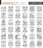 Symboles de concept d'ensemble de meubles mini Illustrations linéaires de style de course moderne intérieure de meubles réglées M illustration libre de droits