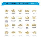 Symboles de couronnes de roi et de reine Photo libre de droits