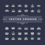 Symboles de couronnes de roi et de reine illustration stock