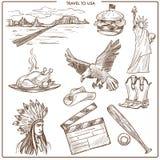 Symboles de croquis de vecteur de voyage des Etats-Unis Amérique Illustration Libre de Droits