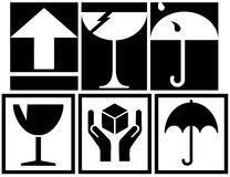 Symboles de empaquetage de cadre Images stock