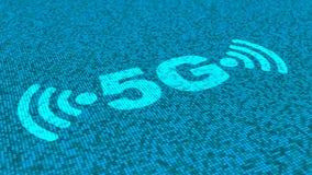 symboles de 5G et de wifi dans le bleu sur un fond de matrice carrée Photographie stock libre de droits