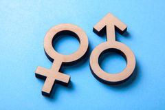 Symboles de genre de l'homme et de femme d'arbre sur le bleu Images stock