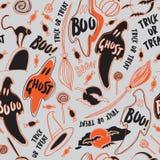 Symboles de Halloween dans le modèle sans couture noir et orange sur B gris illustration de vecteur