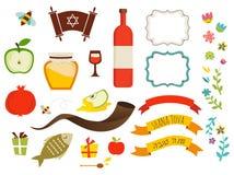 Symboles de hashanah de rosh, nouvelle année juive Photos libres de droits