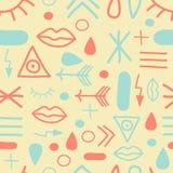 Symboles de hippie dans la menthe et le corail illustration libre de droits