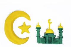 Symboles de l'Islam Objets faits à partir de l'argile de jeu Photographie stock libre de droits