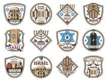 Symboles de l'Israël, icônes juives de religion de judaïsme illustration de vecteur