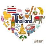 Symboles de la Thaïlande dans le concept de forme de coeur Images stock