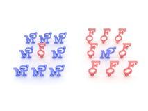 Symboles de mâle et rose femelle et bleu. 3D Photographie stock