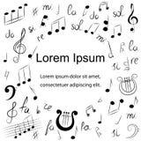 Symboles de musique tirés par la main Dessins de griffonnage de clef triple, de Bass Clef, de notes et de lyre Type de croquis Photo libre de droits