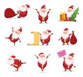 Symboles de Noël de Santa mignonne drôle Différents caractères réglés dans des poses dynamiques illustration stock