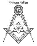 Symboles de place et de boussole de franc-maçon illustration de vecteur