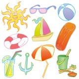 Symboles de plage Images libres de droits