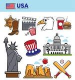 Symboles de points de repère de voyage des Etats-Unis Amérique et icônes d'attraction touristique de culture américaine réglées Illustration Libre de Droits