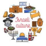 Symboles de points de repère et de culture de voyage de l'Israël Affiche de vecteur de drapeau de l'Israël illustration libre de droits
