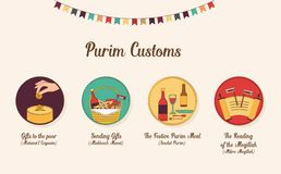 Symboles de purim juif de vacances Conception d'Infographics illustration libre de droits