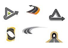 Symboles de route et d'omnibus Photographie stock libre de droits
