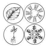 Symboles de saison gravant l'illustration de vecteur Photographie stock libre de droits