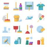 Symboles de service de nettoyage Différents outils colorés dans le style de bande dessinée Bouteille de balai et de Soap Image stock