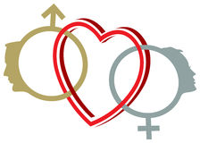Symboles de sexe liés Photos stock