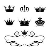 Symboles de silhouette de couronne Photographie stock