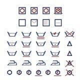 Symboles de soin de blanchisserie Photographie stock