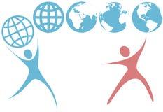 symboles de swoosh de planète de gens de prise de globe de la terre vers le haut Image stock
