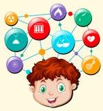 Symboles de tête et de science et technologie de garçon illustration libre de droits