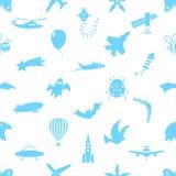 Symboles de thème de thème de vol et modèle sans couture d'icônes Photo stock