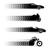 Symboles de véhicule et de motocyclette Photographie stock libre de droits