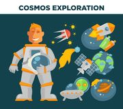 Symboles de vecteur d'exploration et d'astronaute de cosmos illustration libre de droits