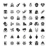 Symboles de vecteur de vacances de Noël Icônes de noir de silhouette de Noël d'hiver d'isolement Photos libres de droits