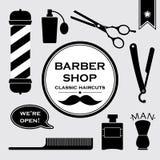 Symboles de vintage de raseur-coiffeur dans l'ensemble Photo stock