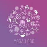 Symboles de yoga dans la forme ronde de label Dirigez la méditation et spirituel, concept de santé d'harmonie illustration libre de droits