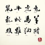 Symboles de zodiaque de calligraphie