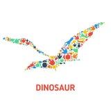 Symboles des dinosaures et des empreintes de pas de dinosaure Images libres de droits