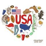 Symboles des Etats-Unis dans le concept de forme de coeur Photos libres de droits