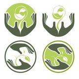 Symboles des mains et des centrales croissantes de l'être humain illustration libre de droits