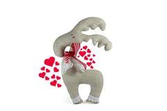 Symboles doux de jouet et de coeur de l'amour, d'isolement Photographie stock libre de droits
