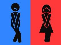 Symboles drôles de toilettes de carte de travail Photos stock