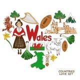 Symboles du Pays de Galles dans le concept de forme de coeur Photo stock