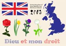 Symboles du Royaume-Uni de la Grande-Bretagne et du nord floraux Images libres de droits