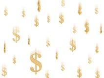 Symboles en baisse du dollar d'or Image stock