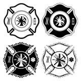Symboles en travers de sapeur-pompier Photos stock