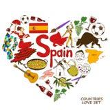 Symboles espagnols dans le concept de forme de coeur Images libres de droits